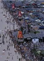 Первый фестиваль Ратха-ятры в Лос-Анджелесе на Венис-бич, устроенный Джаянандой, но которого ему не суждено было увидеть